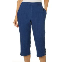 Womens Petal Pushers Solid Button Hem Capris