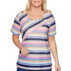Alfred Dunner Womens Petal Pushers Asymmetrical Stripe Top