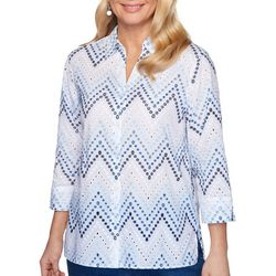 Alfred Dunner Womens Petal Pushers Chevron Eyelet Top