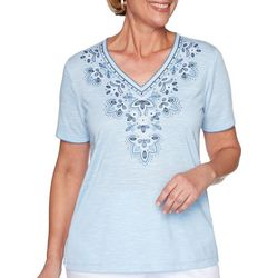 Alfred Dunner Womens Petal Pushers Embroidered Yoke Top