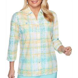 Alfred Dunner Womens Spring Lake Plaid Collared Top