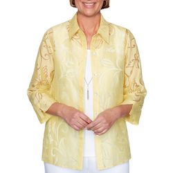 Alfred Dunner Womens Butterfly Woven 2-For-1 Top