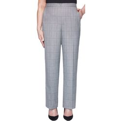 Alfred Dunner Womens Petite Plaid Pull On Pants