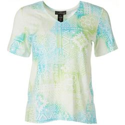 Alfred Dunner Womens Floral V-Neck Top