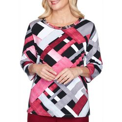 Alfred Dunner Geometric Double Banded Neckline Top