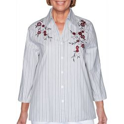 Alfred Dunner Womens Button-Down Embroidered Top