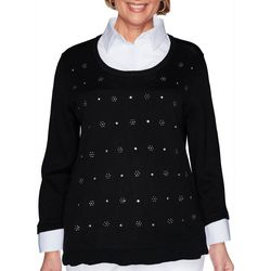 Alfred Dunner Womens Duet Collared Sweater Top