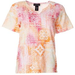Alfred Dunner Womens Batik Tie Dye Split Neck Top