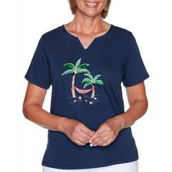 Alfred Dunner Womens Embroidered Palm Tree Top