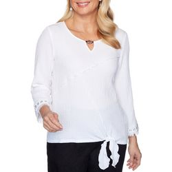 Alfred Dunner Womens Front Tie Top