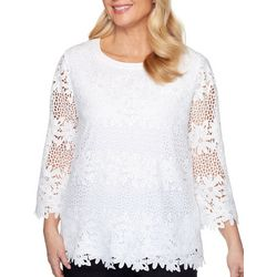 Alfred Dunner Womens Lace Floral 3/4 Sleeve Top
