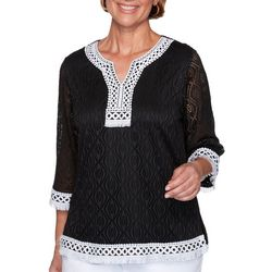 Alfred Dunner Womens Frayed Trim 3/4 Sleeve Top