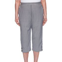 Alfred Dunner Womens Bicolor Check Capris