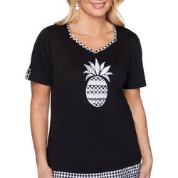 Alfred Dunner Womens Checkered Pineapple Top