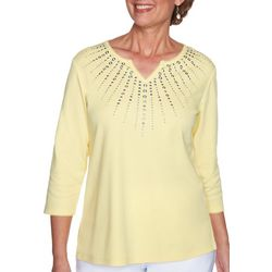 Alfred Dunner Womens Embellished Chest Top