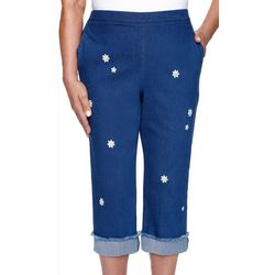 Alfred Dunner Womens Daisy Embroidered Capris