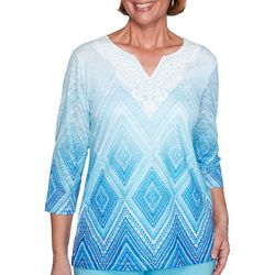 Alfred Dunner Womens Ombre Diamond Laced Top