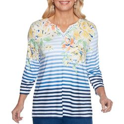 Alfred Dunner Womens Ombre Stripes Top