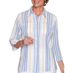 Alfred Dunner Dobby Striped Button Down Top