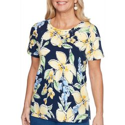 Alfred Dunner Womens Floral Round Neck Top