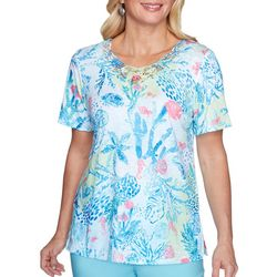 Alfred Dunner Womens Lacey Coral Reef Top