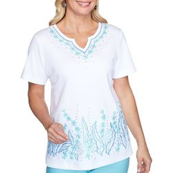Alfred Dunner Womens Embroidered Seashell Top