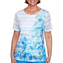 Alfred Dunner Womens Striped Seahorse Top