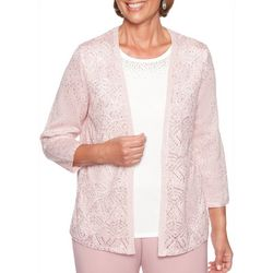 Alfred Dunner Womens Home For The Holidays Duet Cardigan