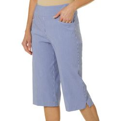 Womens Striped Pull-On Capris