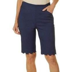 Womens Pull On Stretch Scallop Hem Shorts