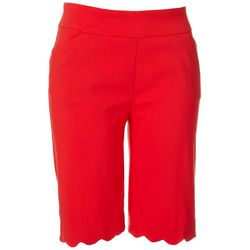 Coral Bay Womens Solid Scalloped Hem Shorts