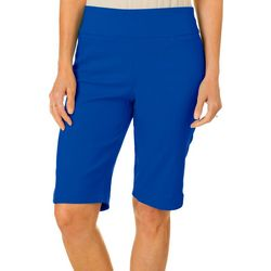 Coral Bay Womens Pull On Stretch Bow Hem Shorts