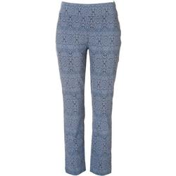 Womens Damask Mid Rise Ankle Pants
