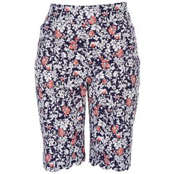Coral Bay Womens Wild Flowers Scalloped Hem Shorts