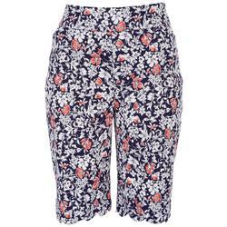 Womens Wild Flowers Scalloped Hem Shorts