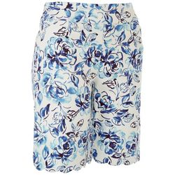 Coral Bay Womens Cold Leaves Scalloped Hem Shorts