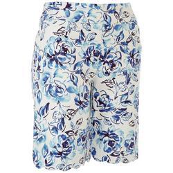 Womens Cold Leaves Scalloped Hem Shorts