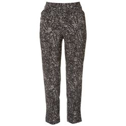 Coral Bay Womens Paisley Pull On Ankle Pants