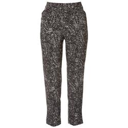 Womens Paisley Pull On Ankle Pants