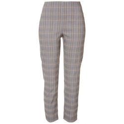 Womens Plaid Pull On Ankle Pants