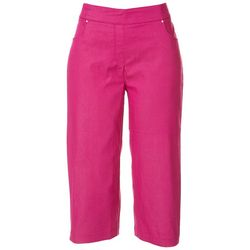 Coral Bay Womens Solid Mid Rise Capris
