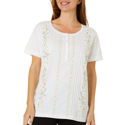 Womens Floral Embroidered Pintuck Short Sleeve Top