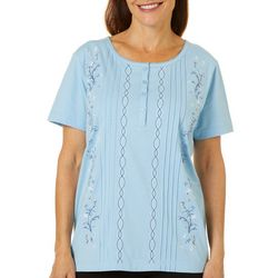 Coral Bay Womens Floral Embroidered Pintuck Short Sleeve Top