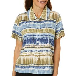 Palm Harbor Womens Mixed Stripe Button Down Short Sleeve Top