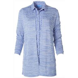 Womens Solid Open Knit Cardigan