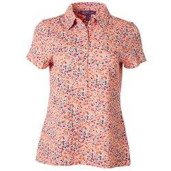 Gloria Vanderbilt Womens Confetti Polo Shirt
