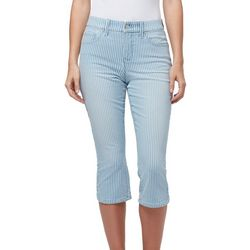 Womens Comfort Curvy Striped Denim Capris