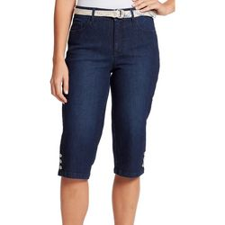 Gloria Vanderbilt Womens Mia Belted Denim Skimmer Shorts