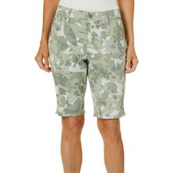 Gloria Vanderbilt Womens Midrise Leaf Print Bermuda Shorts