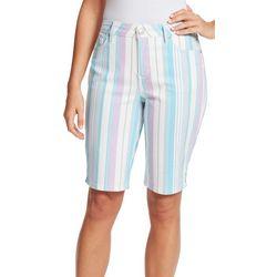 Gloria Vanderbilt Womens Midrise Striped Bermuda Shorts